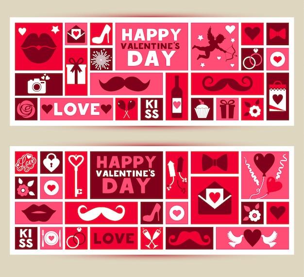 Vector conjunto de banners de día de san valentín Vector Premium