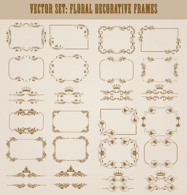 Vector conjunto de bordes decorativos de oro Vector Premium