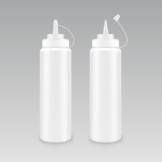 Vector conjunto de botella de ketchup mostaza mayonesa blanca plástica en blanco para la marca sin etiqueta en Vector Premium
