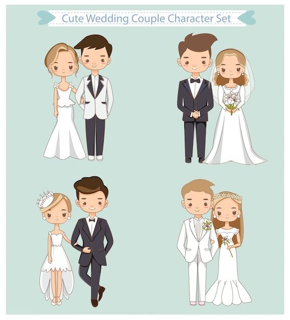 Vector de conjunto de caracteres de pareja linda boda Vector Premium
