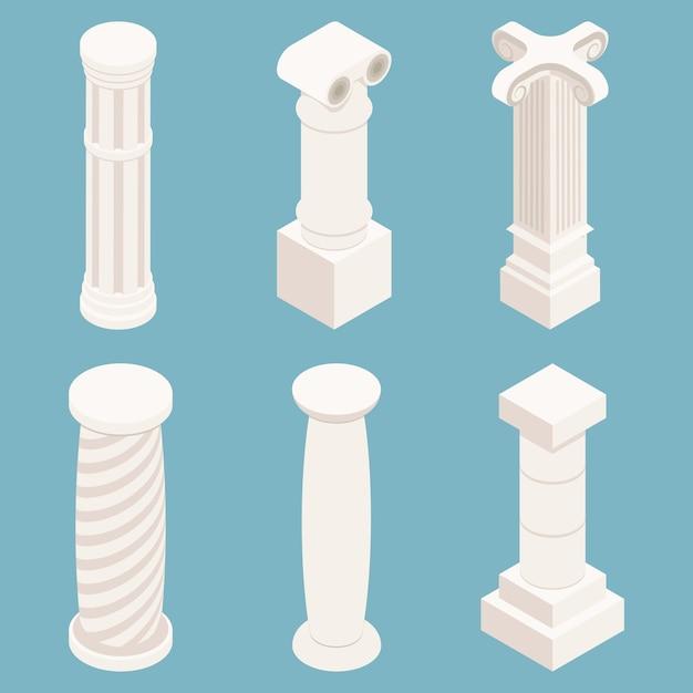 Vector conjunto de columnas isométricas 3d. símbolo de la arquitectura, piedra de la historia, monumento clásico, ilustración de pilar de construcción vector gratuito