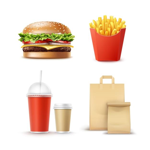 Vector conjunto de comida rápida de hamburguesa realista hamburguesa clásica patatas papas fritas en caja roja tazas de cartón en blanco para café bebidas sin alcohol con pajita y papel artesanal bolsas de almuerzo con asa para llevar. vector gratuito