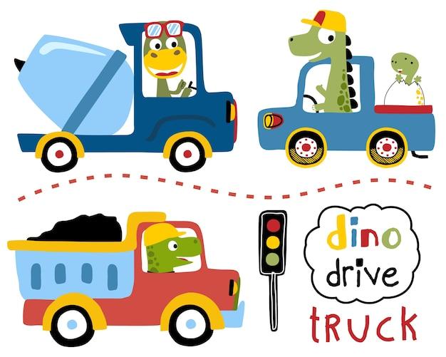 Vector conjunto de conducir camiones con dibujos animados dinos Vector Premium
