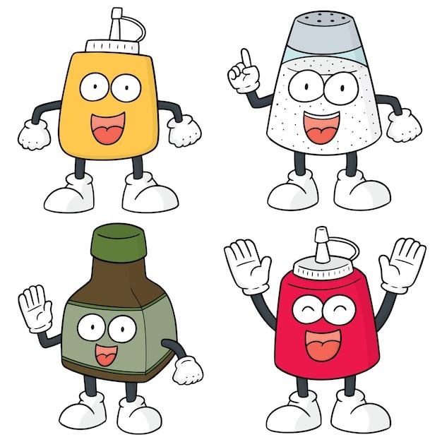 Vector conjunto de dibujos animados botella de condimento Vector Premium