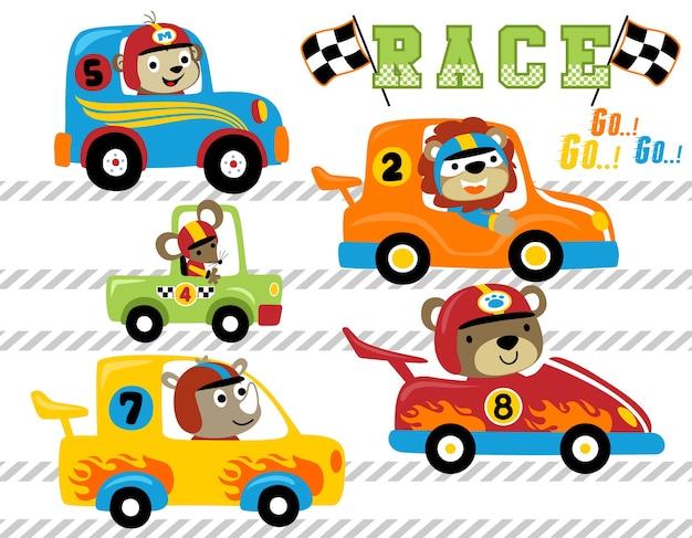 Vector Conjunto De Dibujos Animados De Carreras De Autos Animales