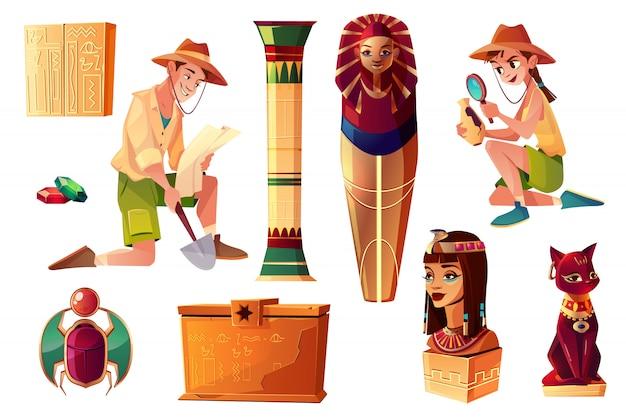 Vector conjunto de dibujos animados egipcios - paleontólogo y personajes arqueólogos vector gratuito