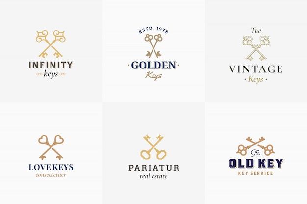 Vector conjunto de emblemas clave retro. signos abstractos, símbolos o plantillas de logotipos. diferentes siluetas de llaves cruzadas con elegante tipografía vintage. aislado. Vector Premium