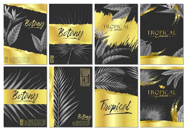 Vector conjunto exóticas hojas tropicales invitación tarjeta Vector Premium