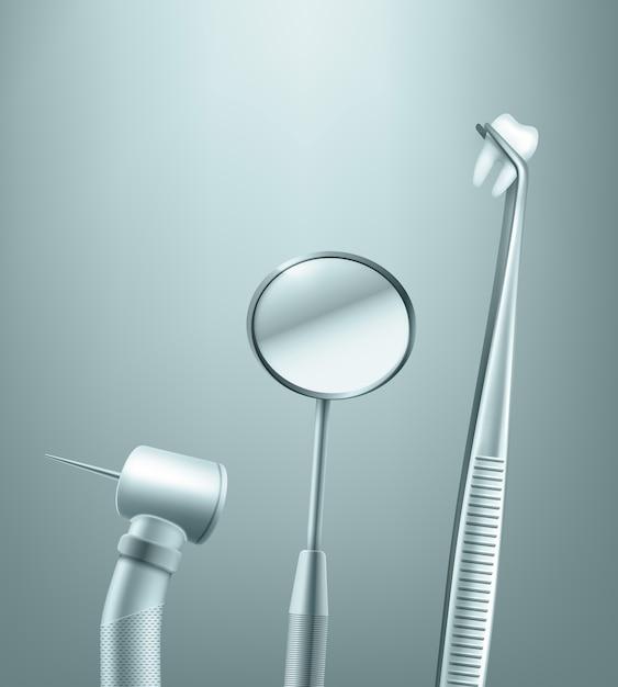 Vector conjunto de herramientas dentales de acero inoxidable espejo, taladro y fórceps con vista lateral del diente en el fondo vector gratuito
