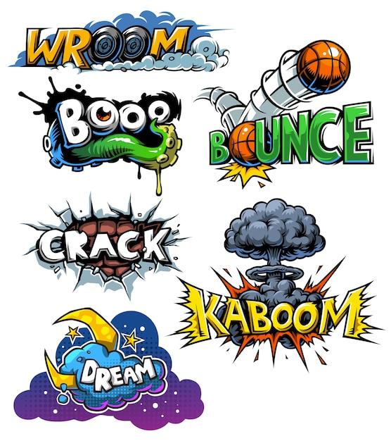 Vector conjunto de iconos de cómics vector gratuito