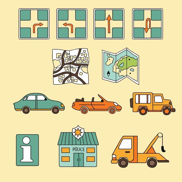 Vector conjunto de iconos de viaje Vector Premium