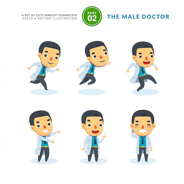 Vector conjunto de imágenes de dibujos animados de hombre médico. segundo set. aislado Vector Premium