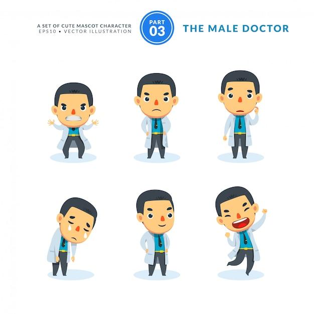 Vector conjunto de imágenes de dibujos animados de hombre médico. tercer set. aislado Vector Premium