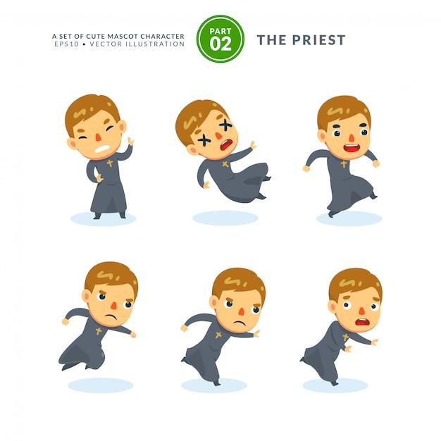 Vector conjunto de imágenes de dibujos animados de un sacerdote. segundo set. aislado Vector Premium