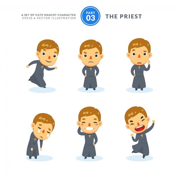Vector conjunto de imágenes de dibujos animados de un sacerdote. tercer set. aislado Vector Premium