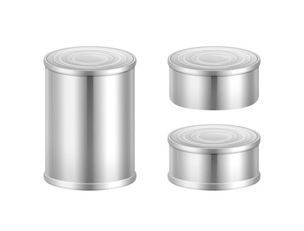 Vector conjunto de latas de acero grandes y pequeñas aisladas sobre fondo blanco vector gratuito