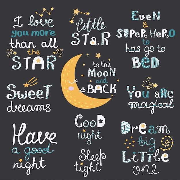 Vector Conjunto De Letras De La Noche Con Frases De Dibujos