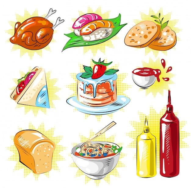 Vector conjunto de parches de comida de estilo cómic pop art Vector Premium