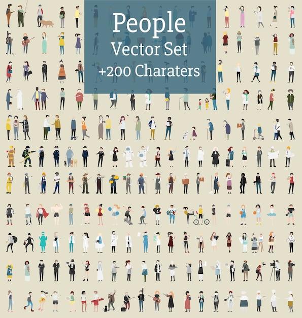 Vector conjunto de personas ilustradas vector gratuito