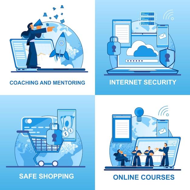 Vector conjunto de planos de entrenamiento y tutoría de seguridad. Vector Premium