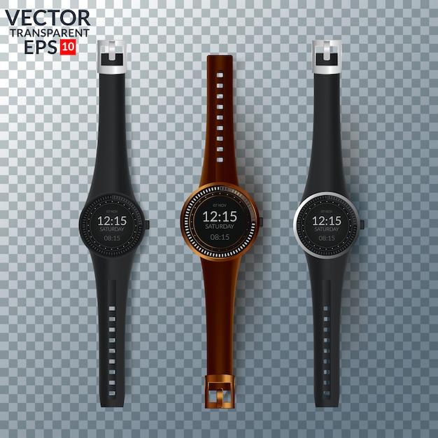 Vector conjunto de relojes para hombres y mujeres. colección de relojes aislados. Vector Premium