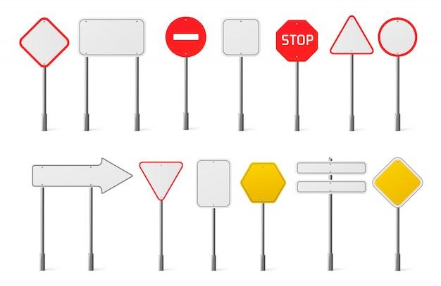 Vector conjunto de señales de tráfico en blanco vector gratuito