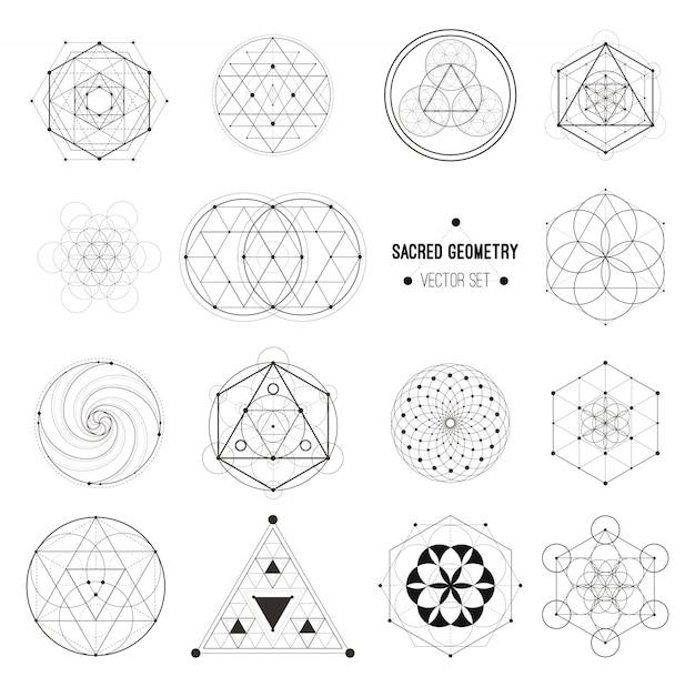Vector conjunto de símbolos de geometría sagrada Vector Premium