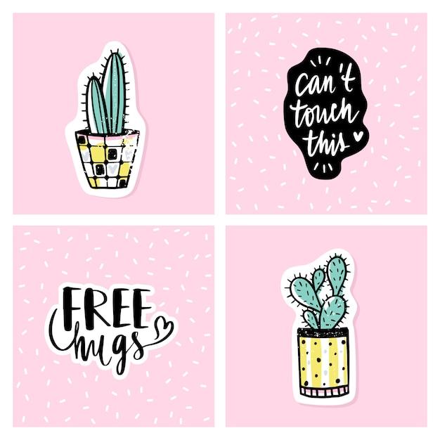 Vector conjunto de tarjetas brillantes con cactus y frases positivas. Vector Premium