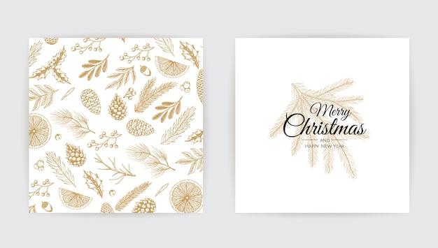 Vector conjunto de tarjetas de navidad. plantillas de tarjetas de fiesta navideña. Vector Premium