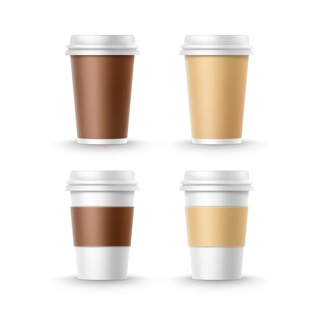 Vector conjunto de tazas de cartón de papel marrón ocre blanco pequeño grandes en blanco para té café aislado sobre fondo blanco. comida rápida vector gratuito