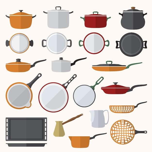Vector conjunto de utensilios de cocina de diseño de color plano Vector Premium