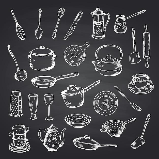 Vector conjunto de utensilios de cocina hechos a mano en la ilustración de pizarra negra Vector Premium