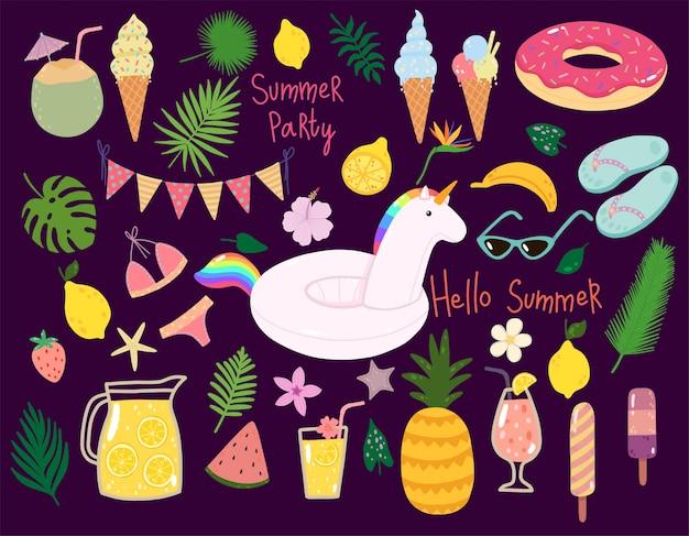 Vector conjunto de verano con flotadores de piscina, cócteles, frutas tropicales, helados, hojas de palma. Vector Premium