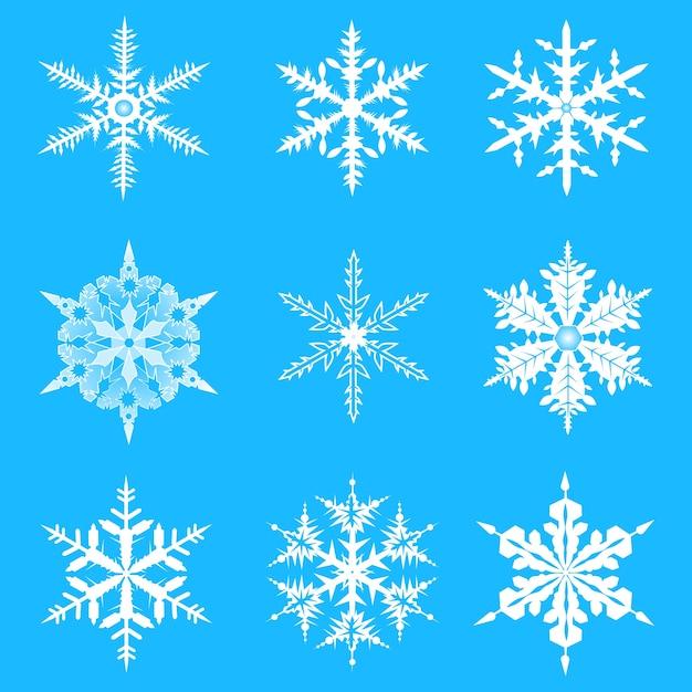 Vector los copos de nieve conjunto. copos de nieve elegantes para la navidad y diseño del año nuevo. vector gratuito