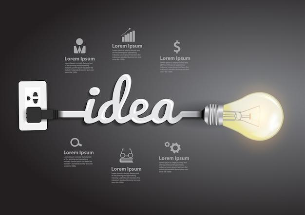 Vector creativo bombilla idea abstracta Vector Premium