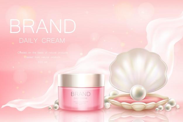 Vector de crema diaria en tarro, fondo cosmético. vector gratuito