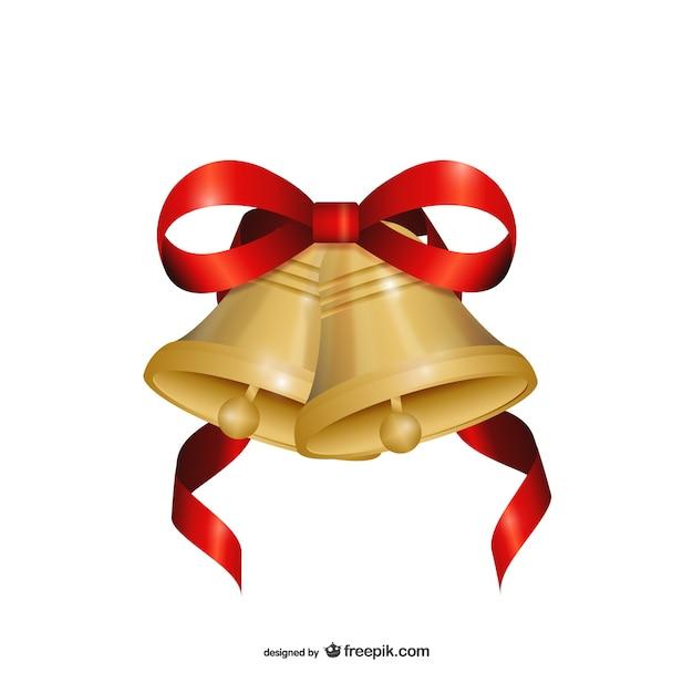 Vector de campanas de navidad con lazo rojo descargar for Dibujo de lazo de navidad