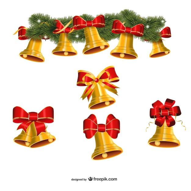 vector de conjunto de campanas de navidad doradas vector gratis