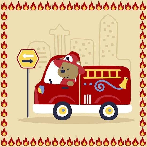 Vector de dibujos animados de bombero   Descargar Vectores Premium
