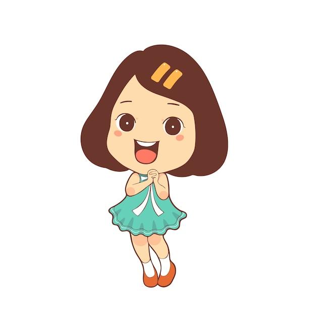 Vector de dibujos animados niña feliz niño lindo