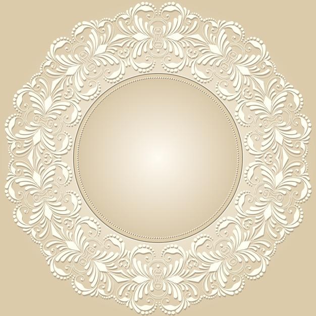 Vector de encaje redondo ornamental con elementos de damasco y ...