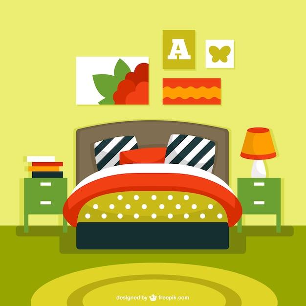 Vector de interior de dormitorio descargar vectores gratis for Dormitorio animado