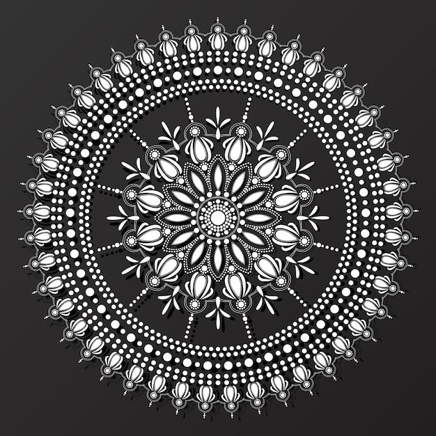 Vector de patrón de diseño de mandala de encaje blanco y negro ...