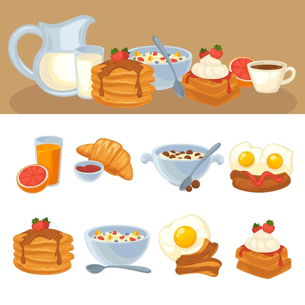 Vector desayuno conjunto de alimentos Vector Premium