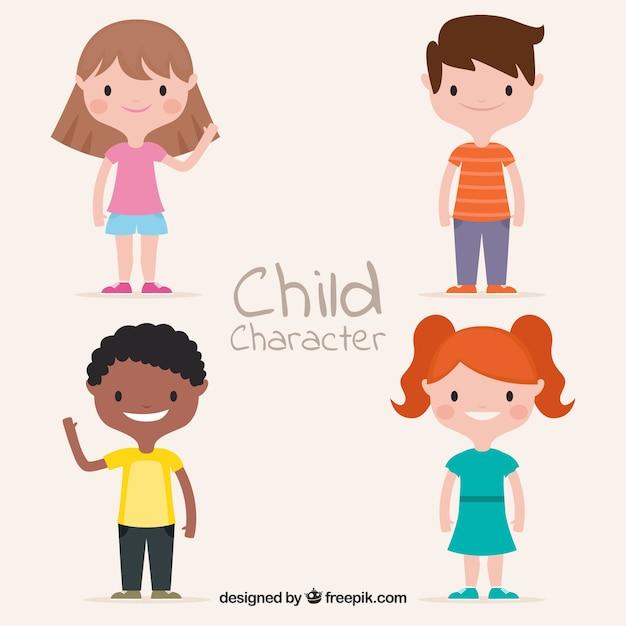 Vector para el día de los niños con niños flat vector gratuito