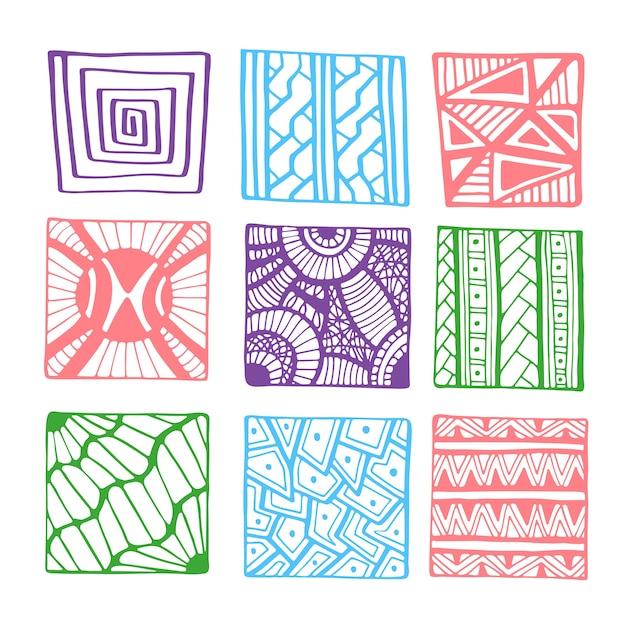 Vector dibujado a mano cuadrados para colorear página de libro o ...
