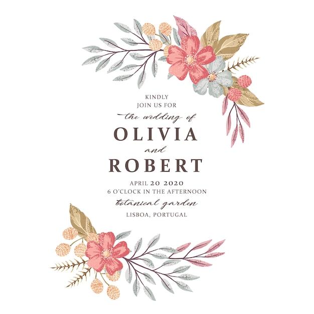 Vector dibujado a mano boda floral diseño de tarjeta de invitación. ahorre la fecha, saludos, felicitaciones. Vector Premium