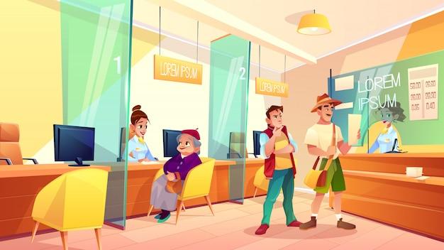 Vector de dibujos animados área de recepción de banco. vector gratuito