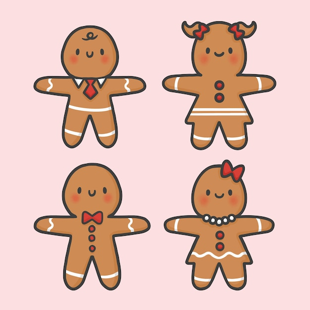 Imagenes De Galletas De Navidad Animadas.Vector De Dibujos Animados Dibujados Mano Linda Navidad