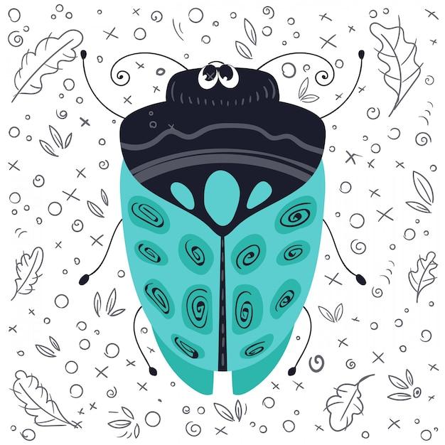 Vector de dibujos animados error o escarabajo Vector Premium